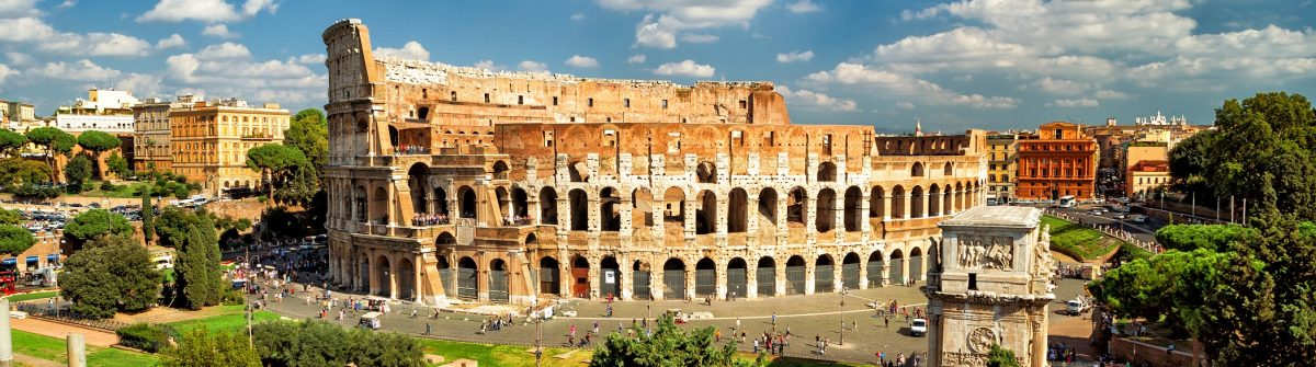 Panoramic view the Colosseum (Coliseum) in Rome