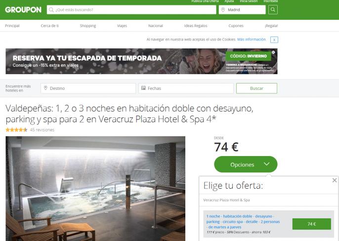 hotel en valdepeñas spa