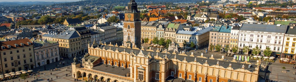 Aerial view on the main market square in Krakow