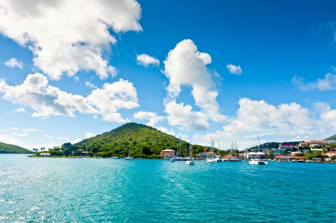 Beautiful yachts near the tropical islands in Caribbean – St. Thomas, U.S.V.I.