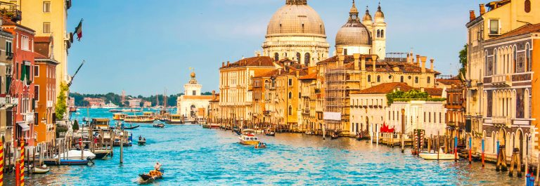 Beautiful view of famous Canal Grande and Basilica di Santa Mari