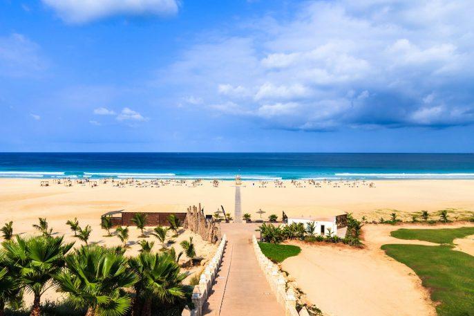Beautiful view on beach and ocean, Boavista, Cape-Verde
