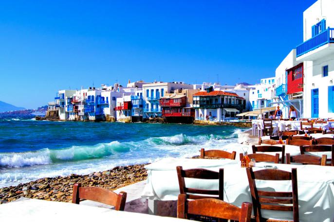 Colorful Little Venice neighborhood of Mykonos island, Greece shutterstock_112674362-2