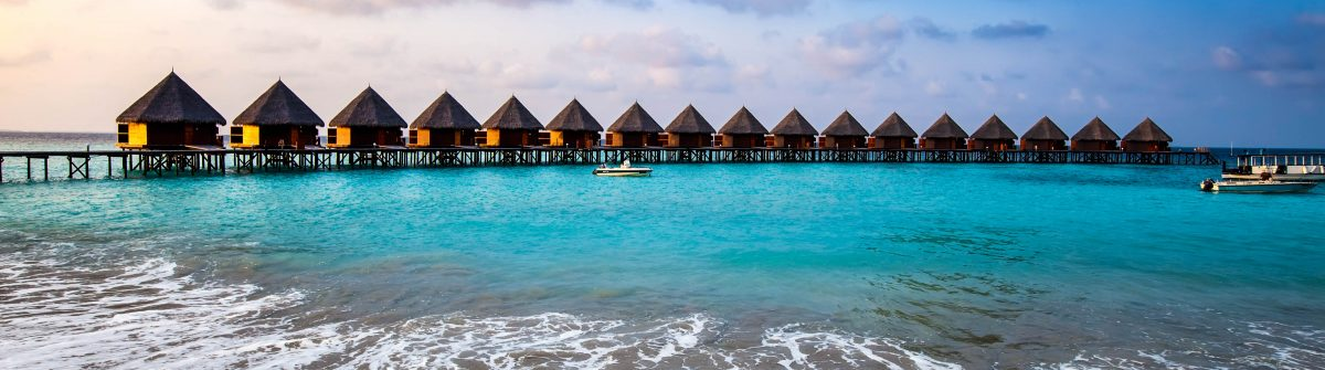 houses on piles on sea. Maldives.