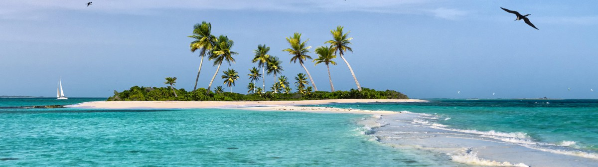 Tropical fantasy island in the Caribbean Sea