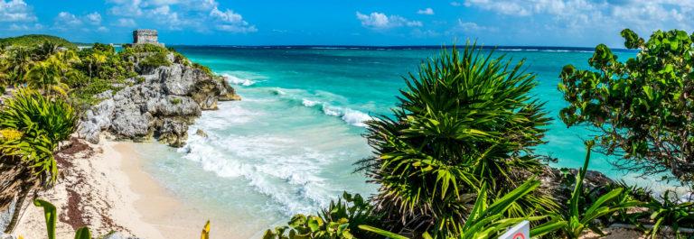 Huge Panorama of Tulum caribbean paradise and Mayan Ruins. Trave