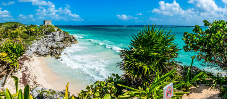Huge Panorama of Tulum caribbean paradise and Mayan Ruins. Trave