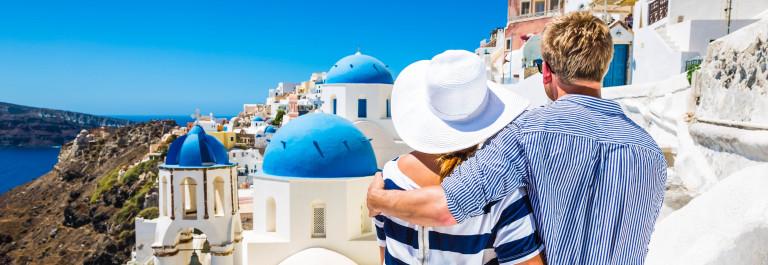 Happy young couple on Santorini island, Greece