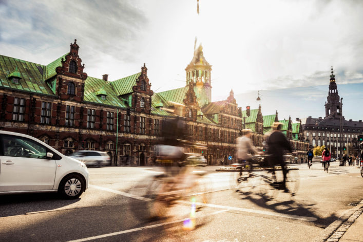 People cycling in Copenhagen