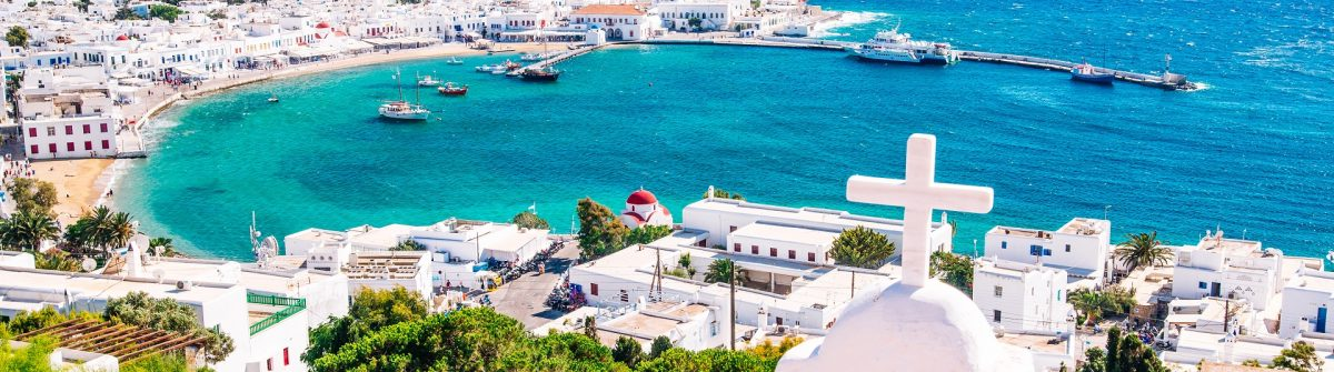 Mykonos Greece panorama view harbour shutterstock_458827315