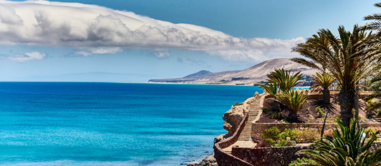 Tropical paradise with blue water on island of Fuerteventura