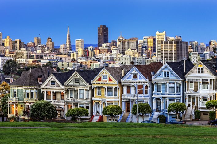 View from Alamo Square at twilight, San Francisco._shutterstock_141108409