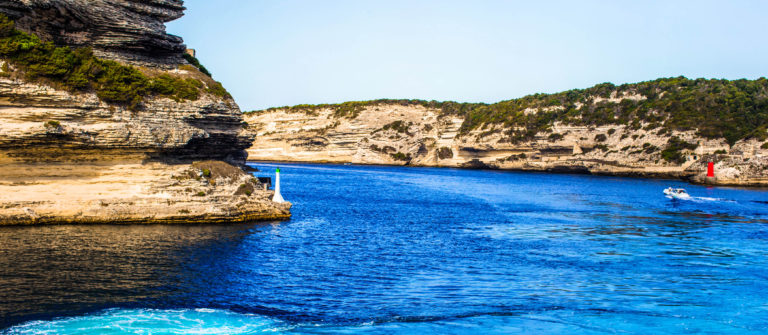 View of beautiful city of Bonifacio from boat, Corsica, France