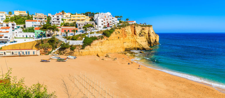 A view of beach in Carvoeiro fishing village, Portugal shutterstock_376192240-2