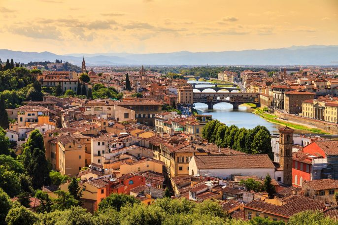 Beautiful cityscape skyline of Firenze (Florence), Italy, with the bridges over the river Arno shutterstock_445227091