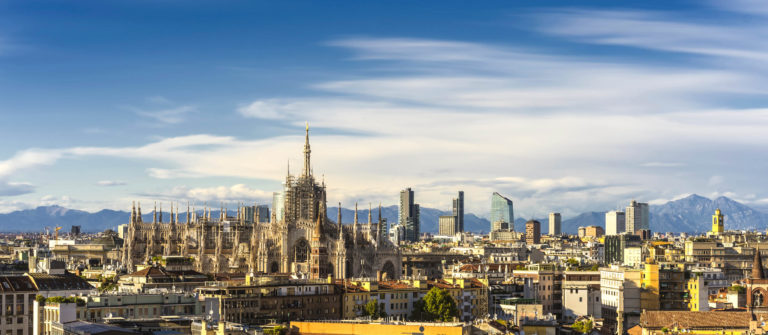 Milan, 2015 panoramic skyline with alps on background