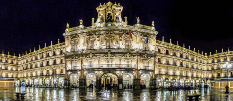 Plaza Mayor in Salamanca at night, Castilla y Leon, Spain