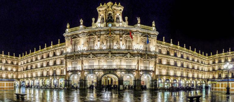Plaza Mayor in Salamanca at night, Castilla y Leon, Spain