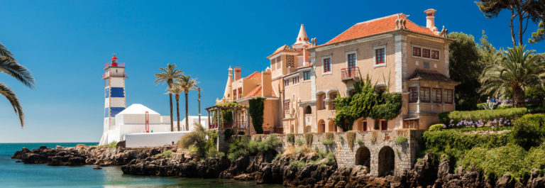 Santa Marta lighthouse and Municipal museum of Cascais, in Portugal.