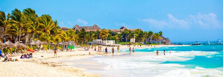 Vacationers on Playa Del Carmen Beach, Riviera Maya, Yucatan, Mexico iStock_000051782848_Large-2