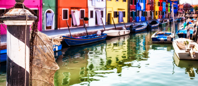 Venice:  Typical street on Burano Island