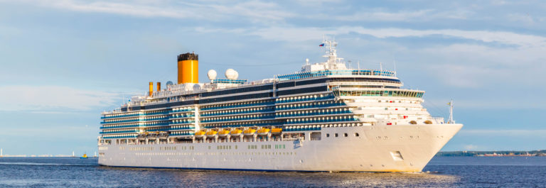 White cruise ship passes barrage gates Gulf of Finland in St. Petersburg shutterstock_528438514-2