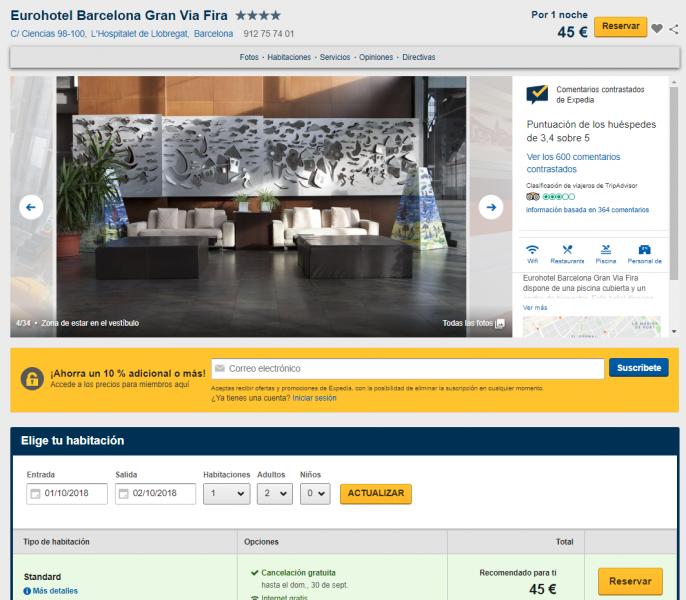Oferta de hotel en Barcelona