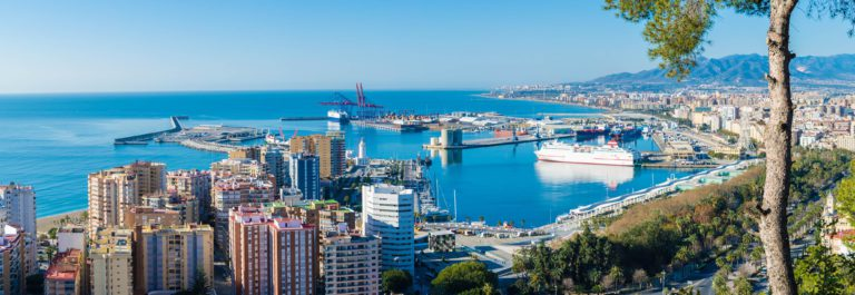Aerial view of the city of Malaga Andalucia Spain