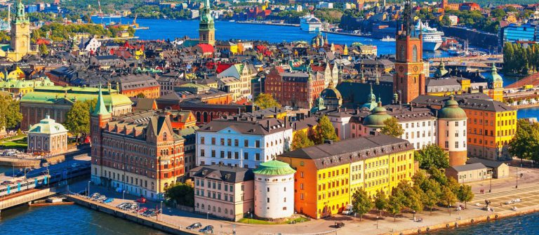 Scenic summer aerial panorama of the Old Town (Gamla Stan) in Stockholm, Sweden_shutterstock_133005938