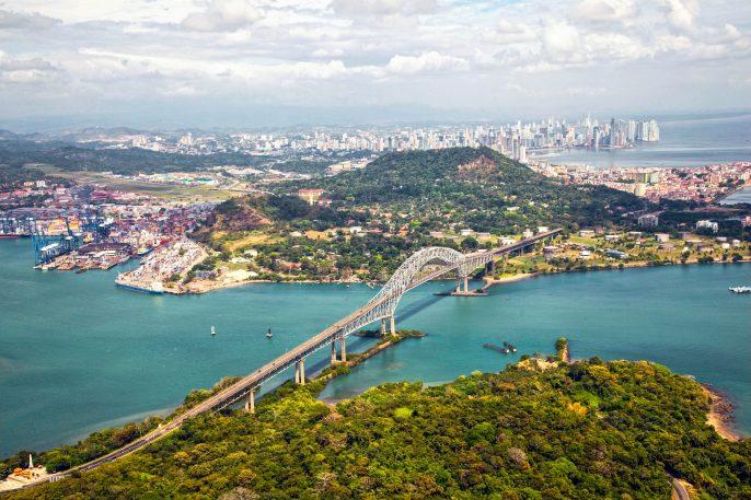 Aerial view; Bridge of the Americas, Panama iStock_000031142968_Large-2