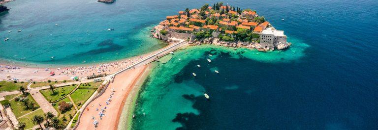 """Sveti Stefan, Montenegro (aerial view)"""