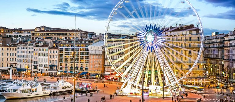View of Vieux Port and Ferry Wheel, Marseille, Provence, France shutterstock_395797006-2