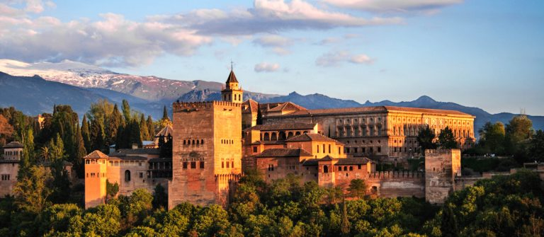 Alhambra in Granada at twilight. One the 7 New Wonders