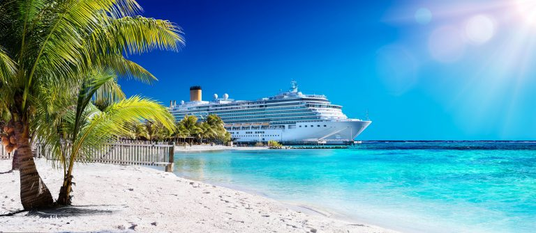 Cruise To Caribbean With Palm tree On Coral Beach shutterstock_398270146-2