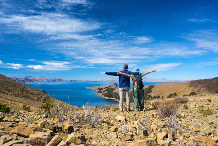 Couple on Island of the Sun, Titicaca Lake, Bolivia