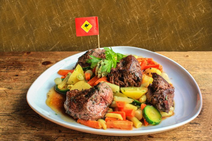 Photos from the dish of kangaroo steak with vegetables shutterstock_428616577-2