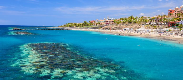 Beautiful turquoise sea water on El Duque beach, Tenerife, Canary islands, Spain_shutterstock_215402416