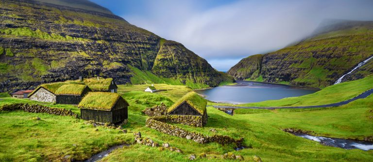Village of Saksun located on the island of Streymoy, Faroe Islands, Denmark shutterstock_323256236