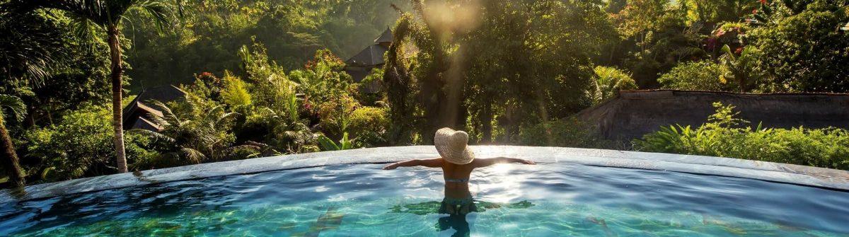 Woman in an infinity pool on Bali