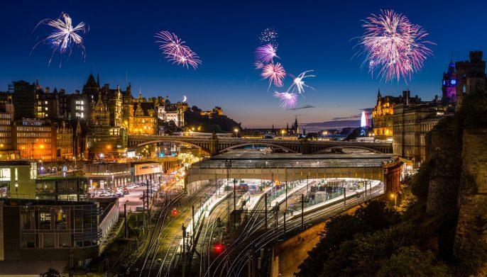 New years eve in Edinburgh. Fireworks in Edinburgh. Sylvester Scotland shutterstock_509537755-2