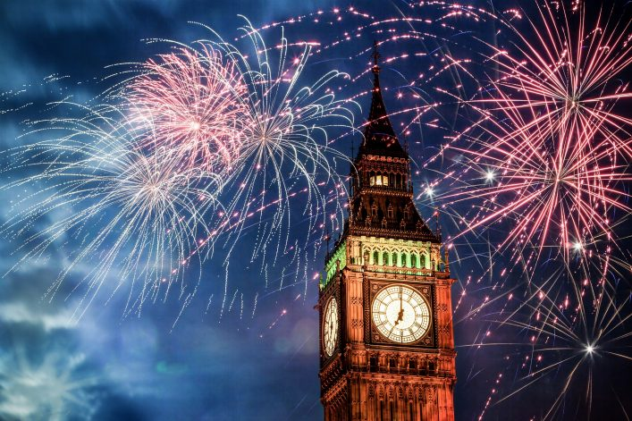 Explosive fireworks display fills the sky around Big Ben. New Year's Eve celebration background_shutterstock_520641811_klein