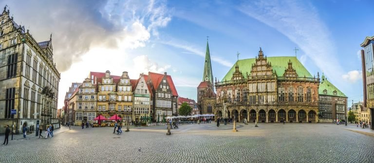 Famous Bremen Market Square in the Hanseatic City Bremen, German