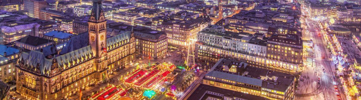 Hamburg Town Hall and Christmas Market at Night