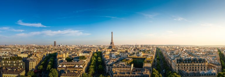 Panorama view of The Eiffel Tower ,Paris, France.