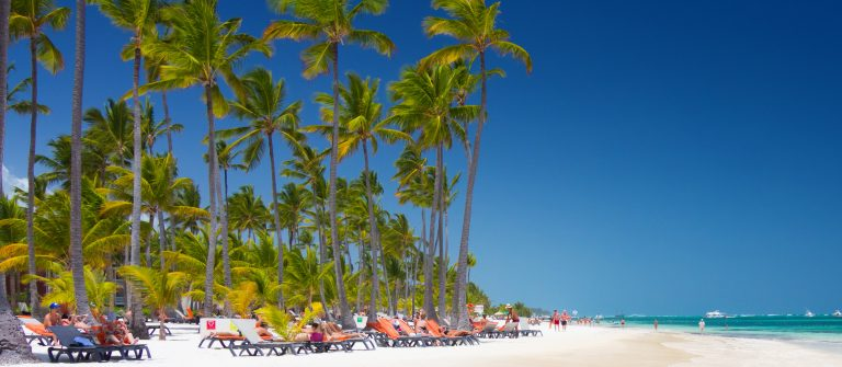 Tropical beach Bavaro at tourist resort in Punta Cana, Dominican Republic shutterstock_391772647