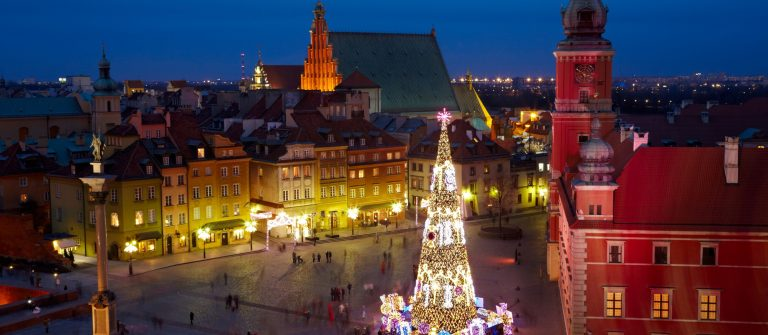 Christmas decorations in Warsaw, Poland._shutterstock_252226282