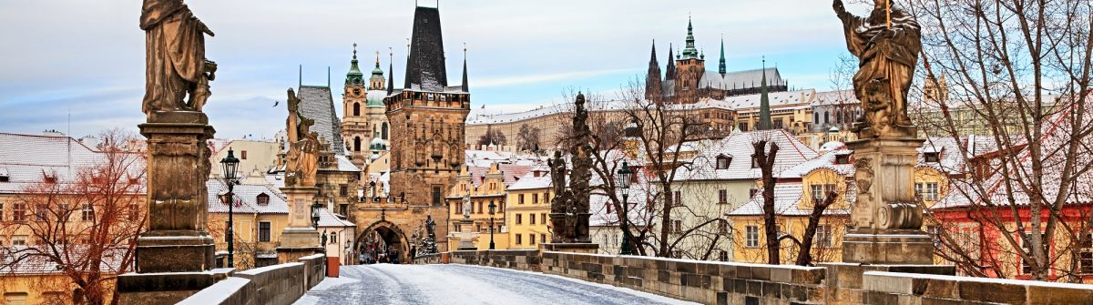 Empty winter Charles Bridge, Prague