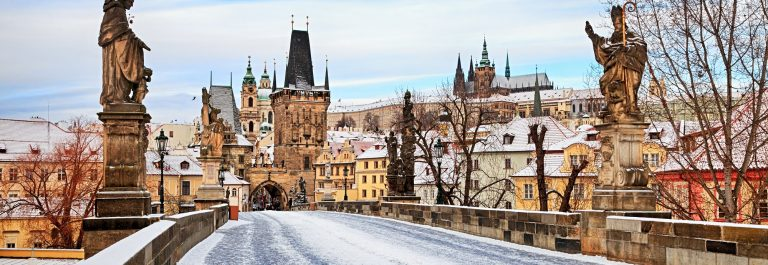 Empty winter Charles Bridge, Prague