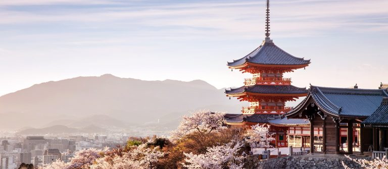 Sunset at Kiyomizu-dera Temple and cherry blossom season (Sakura) on spring time in Kyoto, Japan_shutterstock_452592349