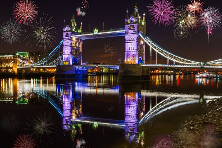 Tower bridge with firework, celebration of the New Year in London, UK_shutterstock_540151606_klein